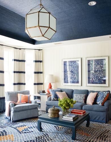 blue white living room